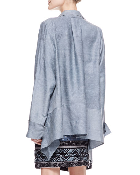 Long Sleeve Caftan Shirt with French Cuffs, Pale Indigo