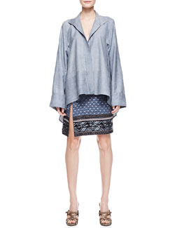 Donna Karan Long Sleeve Caftan Shirt with French Cuffs, Pale Indigo