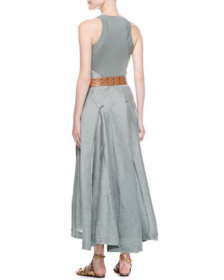 Long Sleeveless Jersey-Back Dress, Vetiver