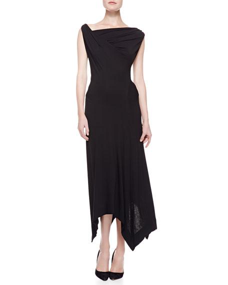 Long Twist Drape Dress, Black