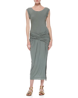 Donna Karan Cap Sleeve Draped T-shirt Dress, Vetiver