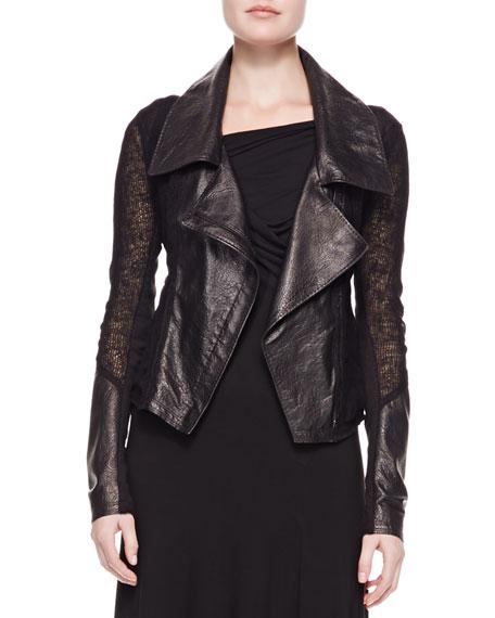 Asymmetric Cropped Zip Jacket, Black