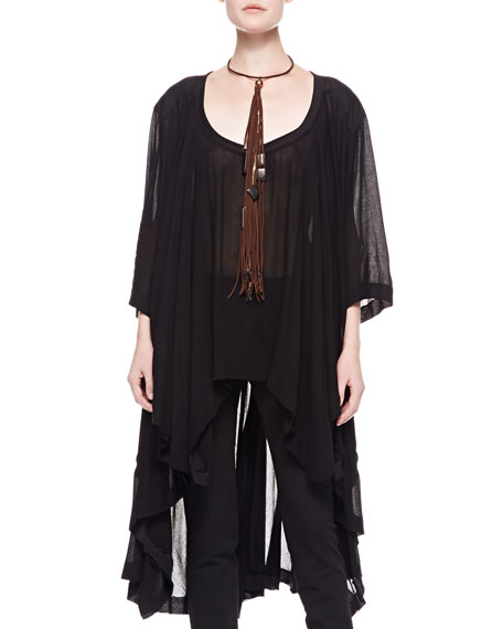 3/4-Sleeve Jersey Tunic with Long Back