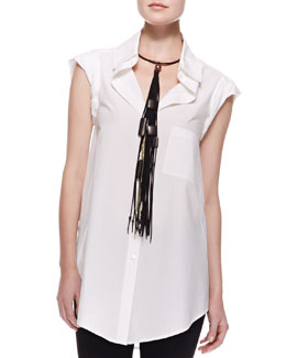 Donna Karan Cap-Sleeve Cotton Top with Pocket, White