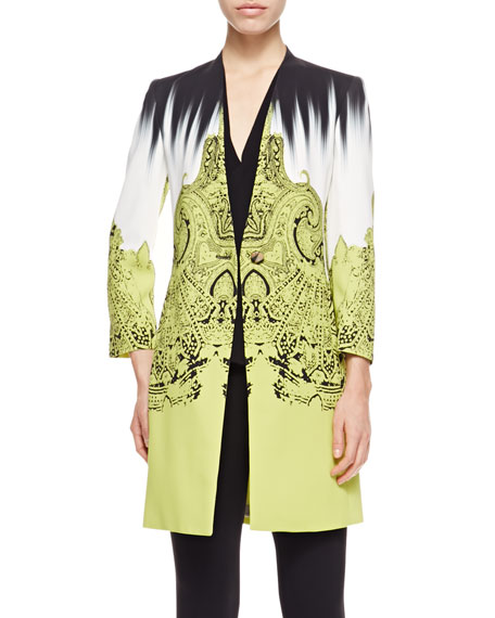 Brushstroke Paisley One-Button Cady Short Topper Jacket