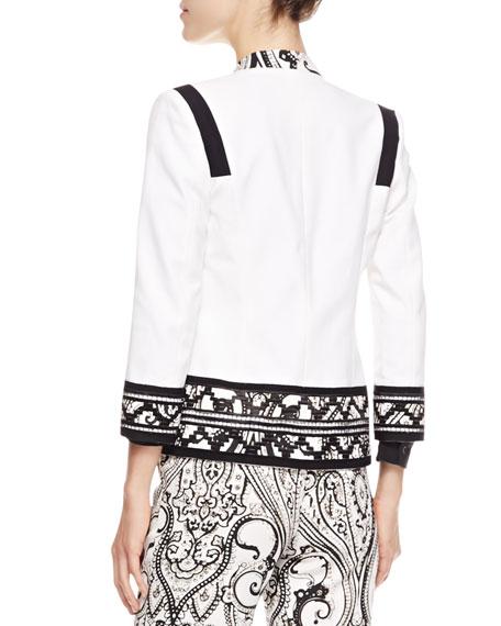 Print-Trimmed Stretch Cotton Jacket, White/Black