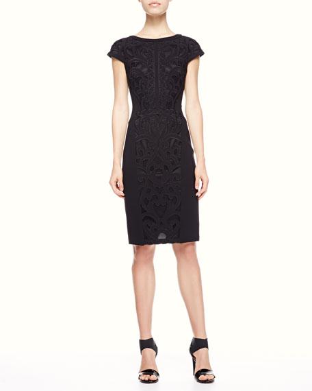 Lace-Applique Cap-Sleeve Dress, Black