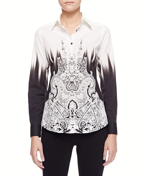Reptile Paisley Blouse, White/Black
