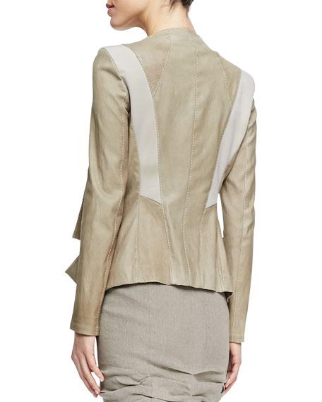 Draped Lambskin Leather Jacket with Jersey Panels