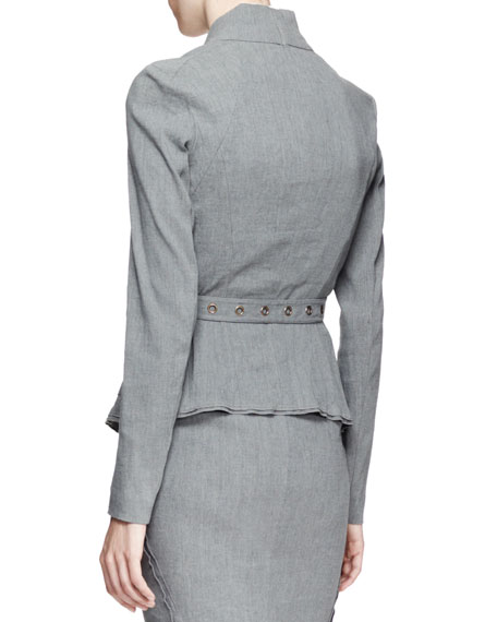 Belted Linen Suiting Jacket, Gray