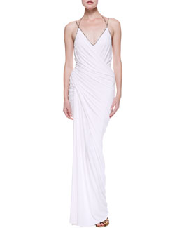 Donna Karan Plunge V Draped Evening Gown, White