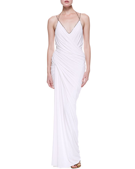 Plunge V Draped Evening Gown, White