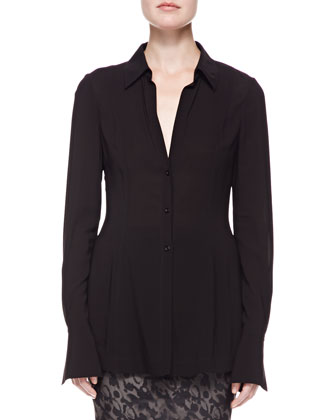 Long-Sleeve Jersey Tunic, Black