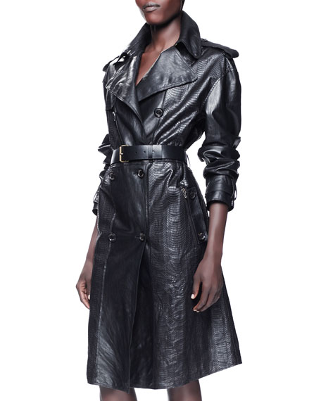 Leather & Mango Snakeskin Trenchcoat, Black