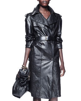 Lanvin Leather & Mango Snakeskin Trenchcoat, Black