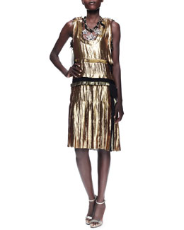 Lanvin Metallic Drop-Waist Dress, Gold
