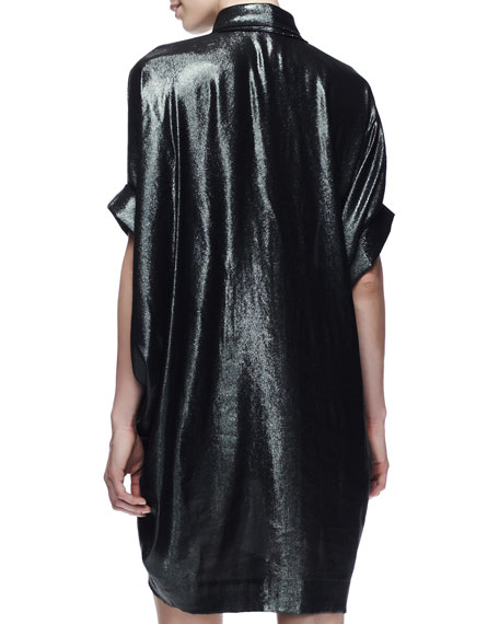 Batwing-Sleeve Washed Metallic Dress, Dark Green