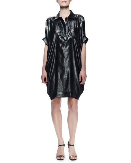 Batwing-Sleeve Washed Metallic Dress, Dark Green