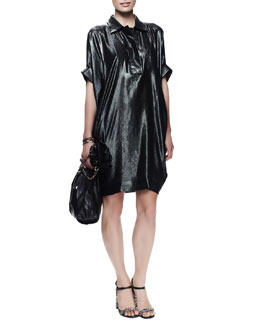 Lanvin Batwing-Sleeve Washed Metallic Dress, Dark Green