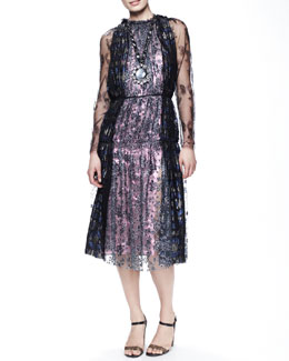 Lanvin Metallic Lace Tea-Length Dress, Anthracite/Purple