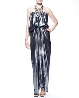Lanvin Strapless Metallic Blouson Gown, Cloud