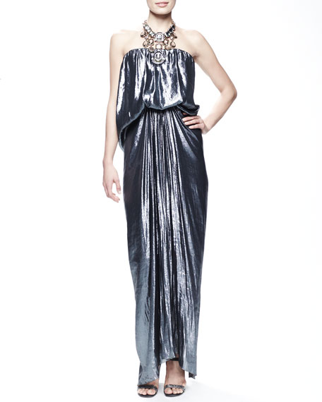 Strapless Metallic Blouson Gown, Cloud
