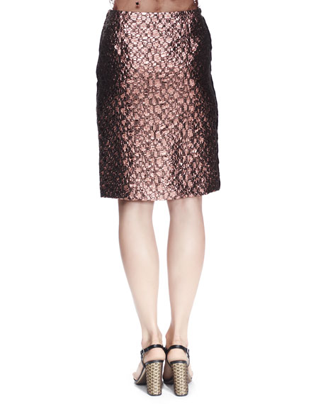 Metallic Brocade Skirt, Light Pink