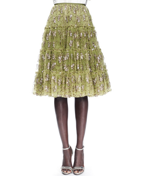 Tiered Tulle Skirt, Anise