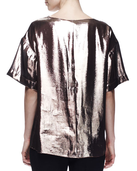 Dream-Front Metallic Tee, Beige/Bronze