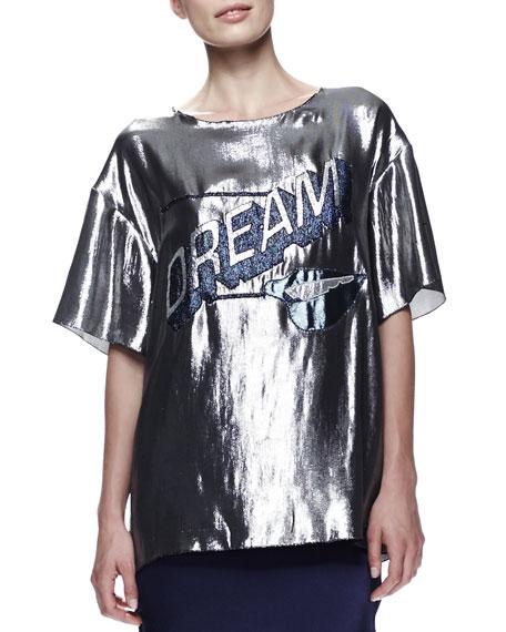 Dream-Front Metallic Tee, Gunmetal/Blue
