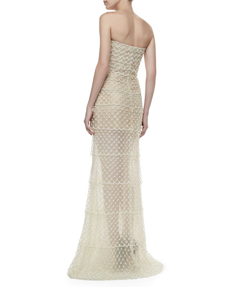 Strapless Beaded Organza Gown, Ivory