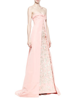 Oscar de la Renta Strapless Cutaway Embroidered Gown