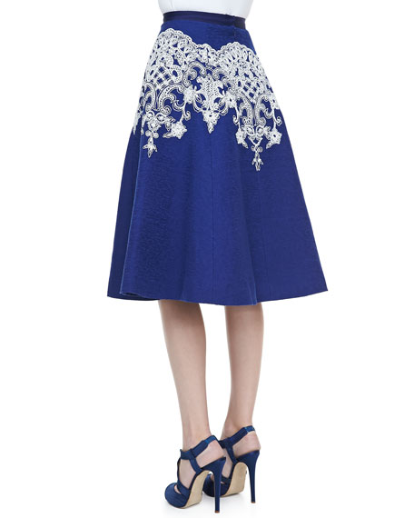 Embroidered Full Skirt, Lapis/White