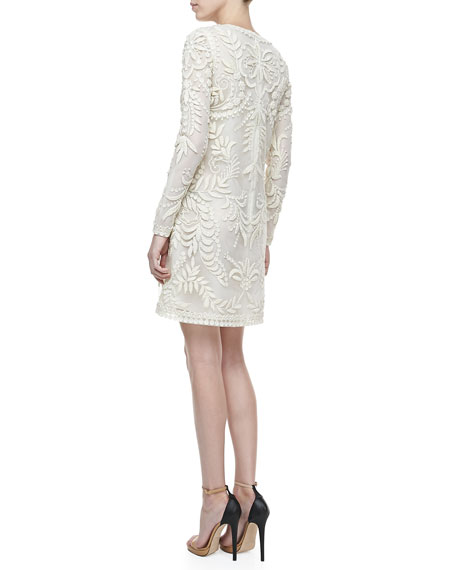 Oscar de la Renta Long-Sleeve Embroidered Dress, Ivory