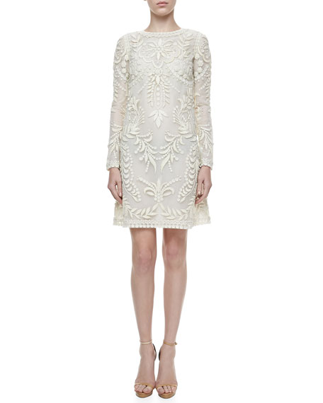 Long-Sleeve Embroidered Dress, Ivory