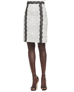 Oscar de la Renta Dotted Lace-Trim Skirt