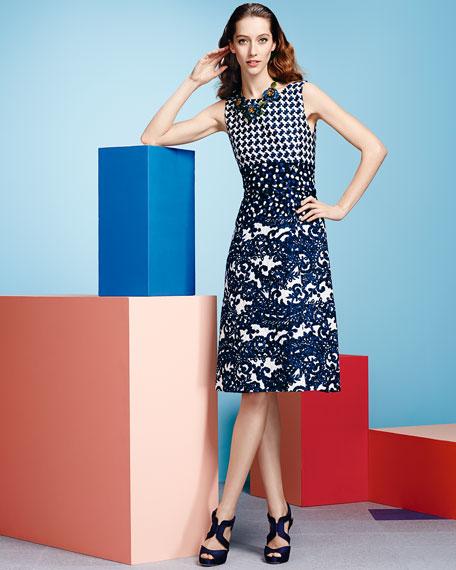 Mixed Check & Lace Printed Dress, Lapis