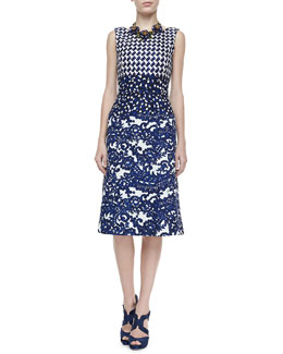 Oscar de la Renta Mixed Check & Lace Printed Dress, Lapis