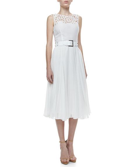 Cutout-Yoke Pleated Silk Dress, Ivory