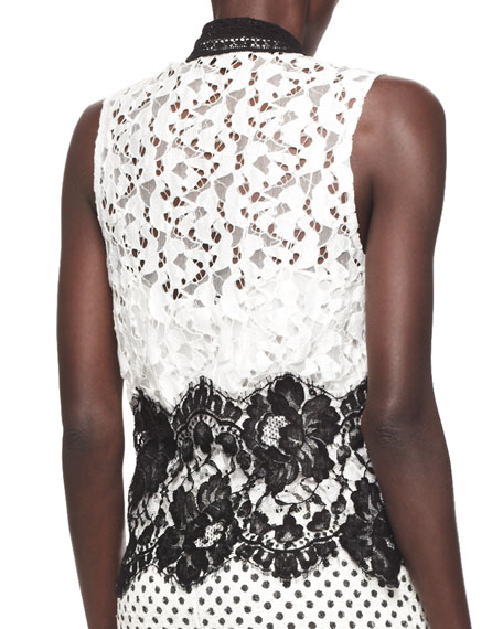 Sleeveless Contrast Lace Blouse