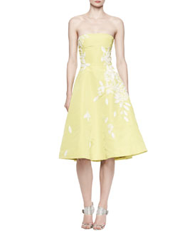 Oscar de la Renta Floral-Sequined Strapless Dress