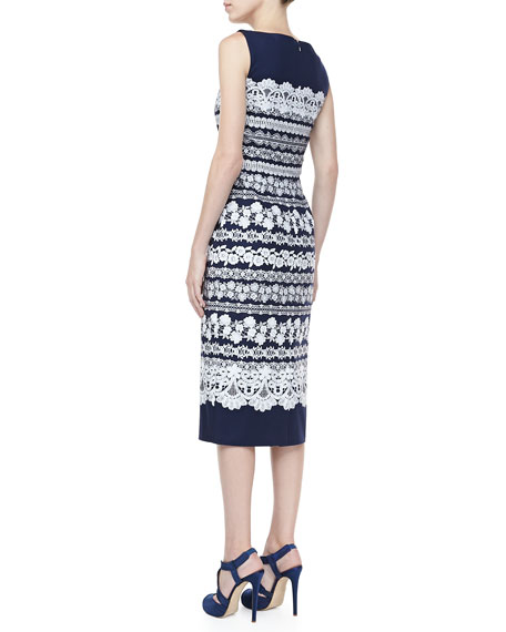 Lace-Print Midi Dress, Navy/White