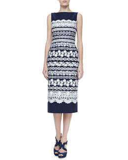 Oscar de la Renta Lace-Print Midi Dress, Navy/White