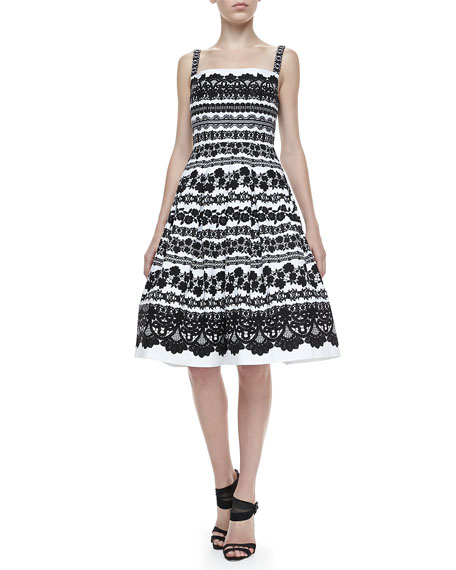 Lace-Print Full-Skirt Dress, White/Black