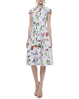 Oscar de la Renta Belted Polka-Dot & Floral Dress, White/Multi