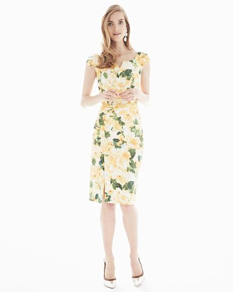 Cap-Sleeve Floral-Print Dress, Yellow