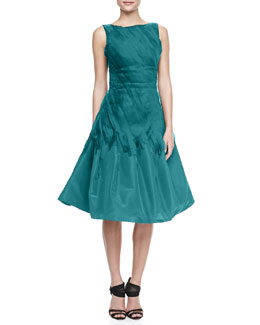 Oscar de la Renta A-Line Cocktail Dress with Chiffon Ribbons