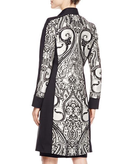 Scroll Paisley-Panel Coat, Black/White