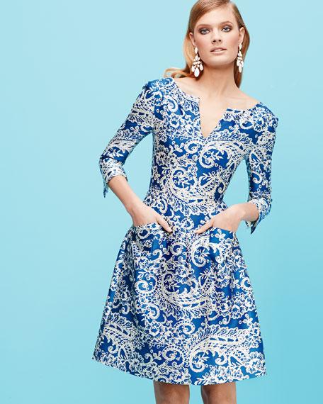 3/4-Sleeve Lace-Print Doupioni Dress