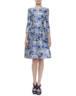 Oscar de la Renta 3/4-Sleeve Lace-Print Doupioni Dress